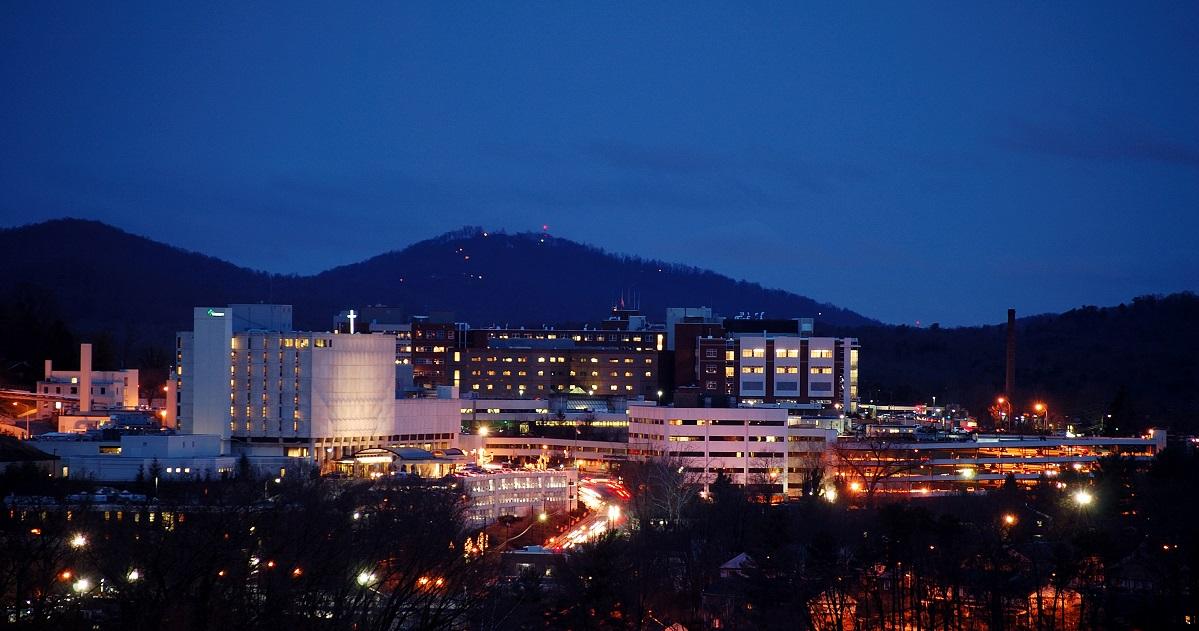 Mission Hospital at Night